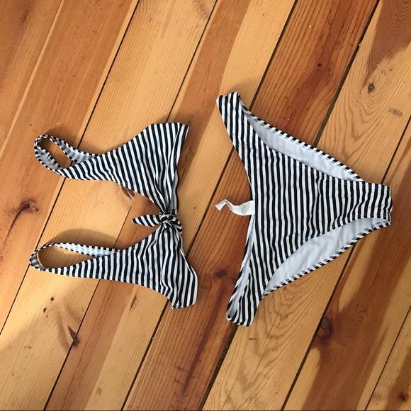 Other - Striped Tie Front Bikini
